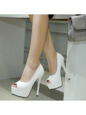 Stylish Peep Toe Solid Platform Stiletto Pumps