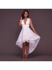 Deep V Neck Sleeveless White Cocktail Dress