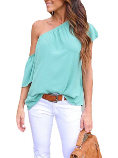 New Inclined Shoulder Chiffon Blouse