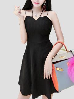 Stripe Hollow Out A Line Halter Dress