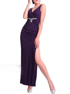 Purple Deep V Neck High Slit Sexy Dress