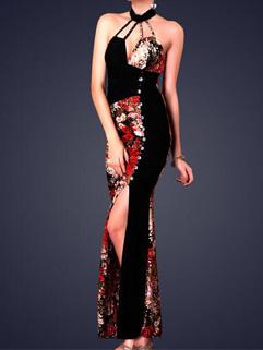 Sexy Embroidered Halter Straps Night Dress