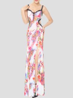 Backless Diamond Floral Prints Sexy Night Dress