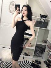 Sexy Crossover V Neck Halter Dress