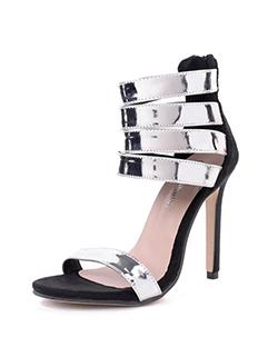 Stylish Color Block Open Toe Stiletto Sandals