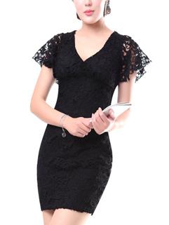 Crochet V Neck Short Sleeve Pencil Dress