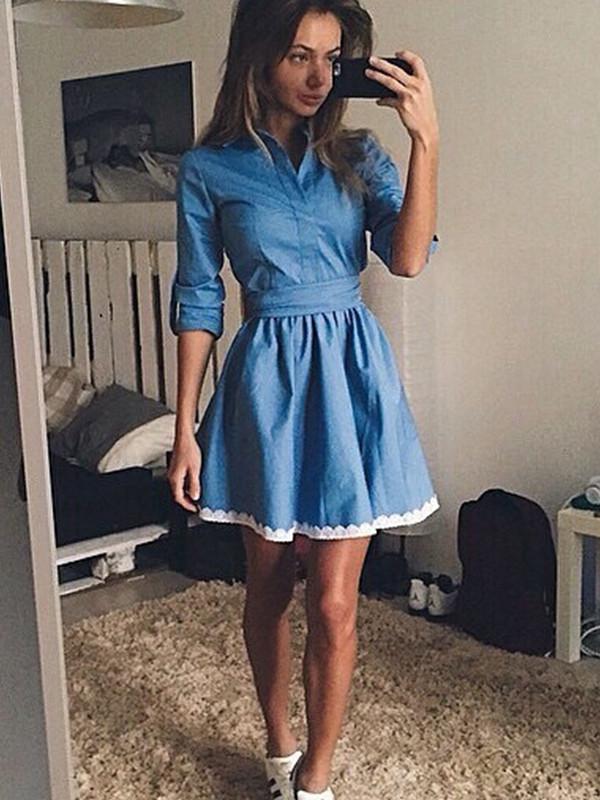 Euro Style High Waist Denim Dress