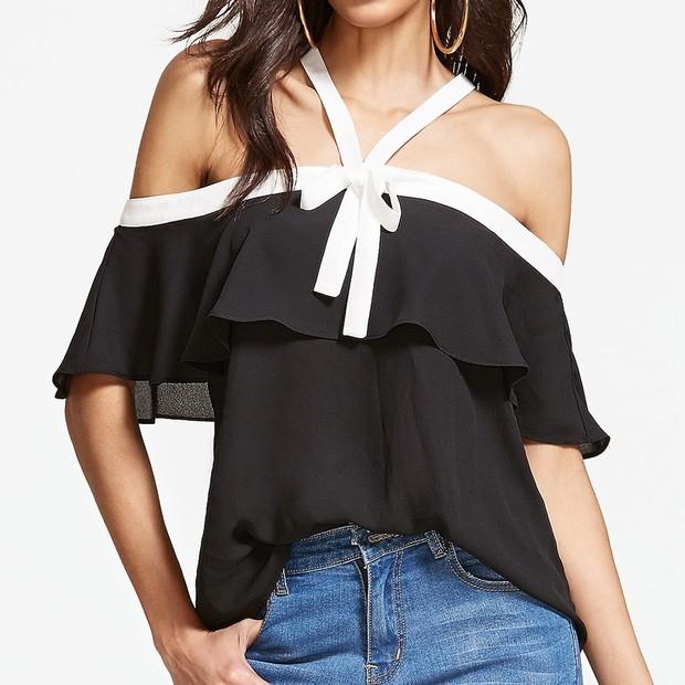 Sexy Bow Tie Off Shoulder Halter Shirt