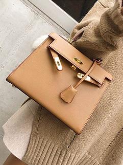 OL Style Solid Hasp Women Handle Bag