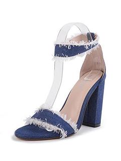 Stylish Denim Rough Chunky Heeled Sandals
