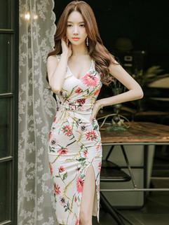 Korean Floral Prints Slit Pencil Dress