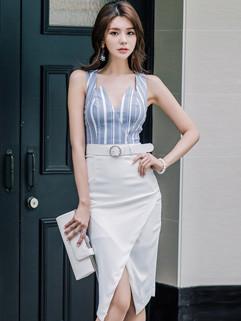 Stripe V Neck Irregular Pencil Dress