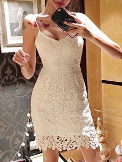 Sexy Fashion Backless Lace Dress