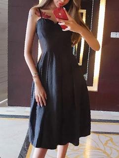 Straps V Neck Black Sexy Dress
