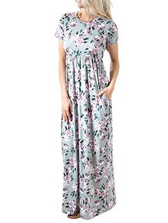 Holiday Floral High Waist Maxi Dresses