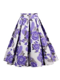 Ladies Flowers A Line Pleated Flare Skirt