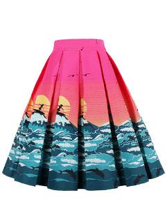 Unique Sea Print A Line Pleated Flare Skirt