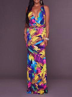 Colorful Printing Floral Deep V-Neck Halter Doodles Dresses