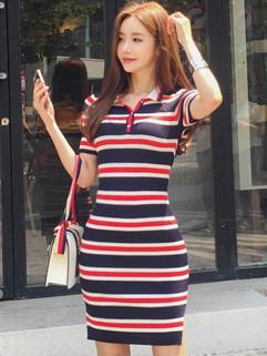 Korean Stripe Polo Collar Shirt Dresses