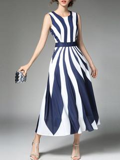 Euro Classic Stripe Chiffon Midi Dress