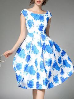 Boat Neck Flower Prints Swing Dress