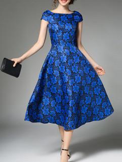 Blue Flower Boat Neck A Line Vintage Dress