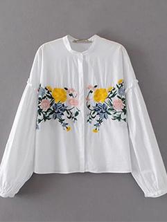 Long Bat Sleeve Embroidery White Blouse