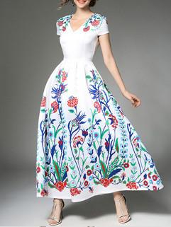 High End Floral Prints V Neck Cocktail Dress