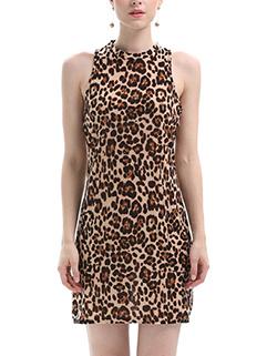 Leopard Prints Sleeveless Chic Halter Dress