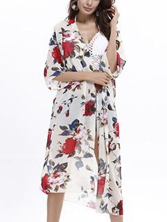 Hot Sale Flowers Long Cardigan Beachwear