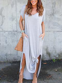 Pocket Solid Large Size Flimsy Breathable V-Neck Women Dresses