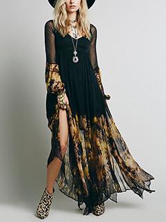 Art Chiffon Pleated Hem Printing V-Neck Perspective Women Dresses