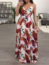 Shoulder Tape Floral Printing Pleated Hem Women Dresses