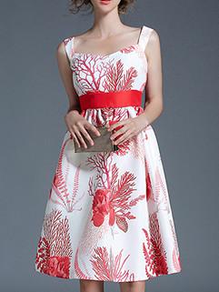 Shoulder Taper Floral A-Line Sleeveless Printing Dresses