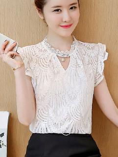 Crochet Flounced Sleeve Keyhole Lace Top