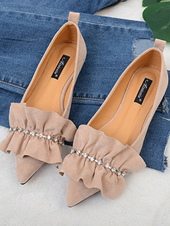New Design Flouncing Diamonds Decor Pointed Flats