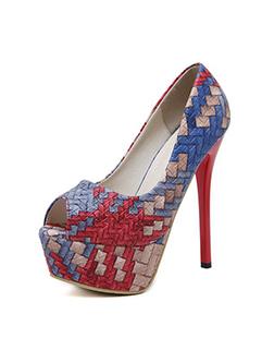 Colorful Weave Peep Toe Stiletto Pumps