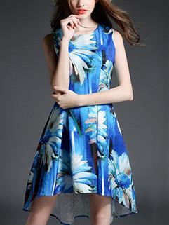 Floral Prints O Neck Asymmetric Blue Dress