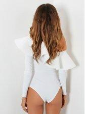 Inclined Shoulder Flouncing Solid Bodysuits