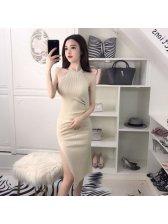 Knitting High Slit Sleeveless Halter Dress Bodycon