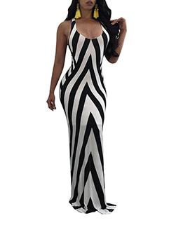 Hot Selling Backless Sleeveless Zebra Dress