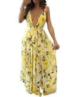 Fresh Deep V Neck Open Strip Dress