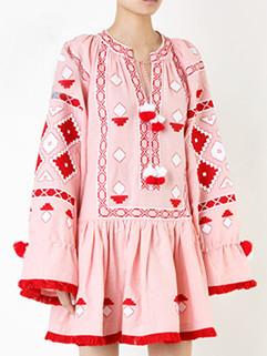 Ethnic Style Geo Print Pink Loose Dress