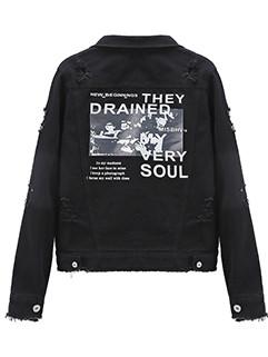 Stylish Pattern Ripped Korean Denim Jacket