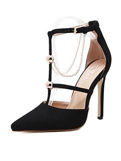 Catwalk T-Strap Chains Stiletto Heels Pumps