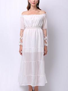 Boat Neck Mesh Long Sleeve White Elegant Dress