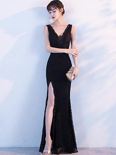 Deep V Neck High Slit Chic Fishtail Dress