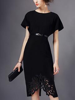 Retro Style Bat Sleeve Hollow Out Black Dress