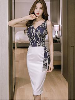Korean Elegant OL Printed V-Neck Patchwork Wrap Dress