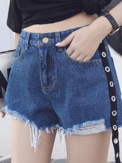 Rivets Webbing Ripped Denim Shorts